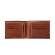 Antica Toscana Slim Bifold Wallet for Men in Real Italian Leather with 6 Card Slots and Banknote facility Terracotta