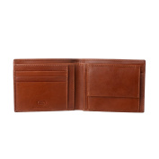 Antica Toscana Mens Wallet in Genuine Italian Leather with Coin Holder Purse / Card & Banknote Pockets Terracotta