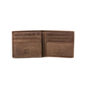 DUDU Mens Wallet Purse in Genuine Vintage Leather with inner Flip up ID window and 9 Card slots Dark Brown