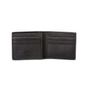 DUDU Mens Wallet Purse in Genuine Vintage Leather with inner Flip up ID window and 9 Card slots Black
