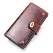 Contacts Genuine Leather Mens Zipper Coin Clutch Purse Long Wallet Red-Brown