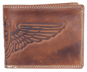 Men's Natural Strong Glazed Genuine Leather Wallet Pedro with Wing