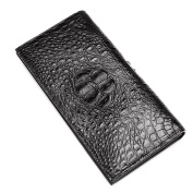 P.KU.VDSL® Men's Wallets, Genuine Crocodile Leather Long Bifold Wallet, Authentic Crocodile Skin, Durable Classic Accordion Style Crocodile Embossed Purses With an ID Window & Multiple Card Slots Perfect For Business