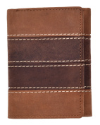 Arnicus Mens Tri-Fold Style Hunter Wallet in Two Tone Quality Leather in Tan and Brown