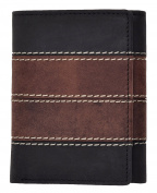 Arnicus Mens Tri-Fold Style Hunter Wallet in Two Tone Quality Leather in Black and Brown