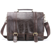 Contacts Genuine Leather 36cm Mens Messenger Shoulder Bag Laptop Briefcase Dark Coffee