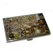 Mother of Pearl Expectation by Gustav Klimt Art Painting Design Business Credit Name ID Card Holder Case Metal Stainless Steel Engraved Slim Purse Pocket Cash Money Wallet