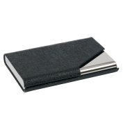 TRIXES Black Professional Business Card Holder with Sleek Faux Leather Finish