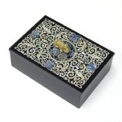 Mother of Pearl MOP Wooden Desktop Black Business Name Card Holder Case with Arabesque and Bat Design