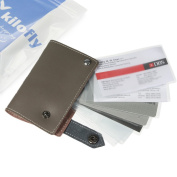 kilofly Credit Business Card Holder Name Card Case - Leather, Grey