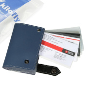 kilofly Credit Business Card Holder Name Card Case - Leather, Blue