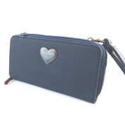 "Zippered wallet + chequebook holder 'Lollipops'navy (2 compartments)- 19x10x4 cm (7.48""x3.94""x1.57"")."