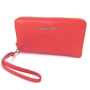 "Wallet + chequebook holder zip / leather pouch 'Gianni Conti'red - 18.5x11x2.5 cm (7.28""x4.33""x0.98"")."