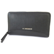 """Wallet + chequebook holder zipped leather 'Gianni Conti'black - 19x12x2.5 cm (7.48""""x4.72""""x0.98"""")."""