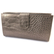 Wallet + chequebook holder leather 'Frandi'brown metal (crocodile).