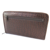 Wallet + chequebook holder zipped leather 'Frandi'brown chocolate (crocodile).