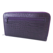 Wallet + chequebook holder zipped leather 'Frandi'purple (crocodile).
