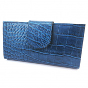 Wallet + chequebook holder leather 'Frandi'blue (crocodile).