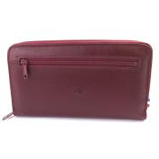 Wallet + chequebook holder zipped leather 'Frandi'burgundy.