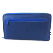 Wallet + chequebook holder zipped leather 'Frandi'blue bicolor.