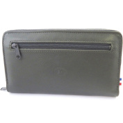Wallet + chequebook holder zipped leather 'Frandi'two-tone grey.