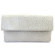 Leather wallet + chequebook holder 'Frandi' mouse grey (leopard).