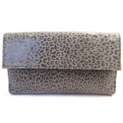 Leather wallet + chequebook holder 'Frandi' graphite grey (leopard).