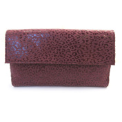 Leather wallet + chequebook holder 'Frandi' bordeaux (leopard).