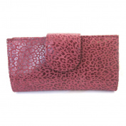 Leather chequebook holder 'Frandi' bordeaux (leopard).