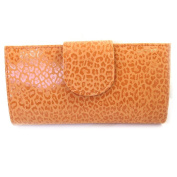 Leather chequebook holder 'Frandi' orange (leopard).