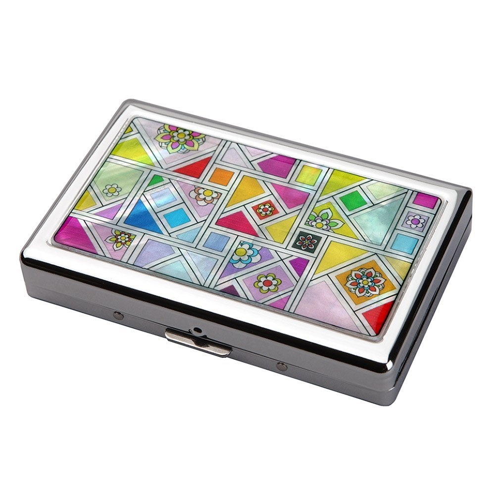 Mother of Pearl Yellow Red Purple Patchwork Mosaic Design 100S King Size 16  Cigarette Engraved Metal Steel RFID Blocking Protection Credit Business