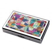 Mother of Pearl Yellow Red Green Patchwork Mosaic Design 100S King Size 16 Cigarette Engraved Metal Steel RFID Blocking Protection Credit Business Card US Bill Currency Cash Holder Case Storage Box