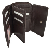 RFID London Leather Goods Zip Round Purse Compact Design with Flap & Large Cards and Notes Section