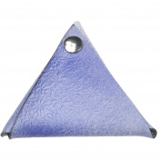 Blue (Flower Emboss) Triangle Double Sided Press Stud Loose Change Coin Wallet