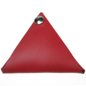 Red 100% Real Leather Triangular Coin Purse Handmade Double Sided UK Made In England