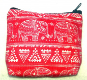 Red cotton coin purse with cute baby elephant design