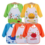 JT-Amigo Unisex Baby Waterproof Sleeved Bib, Set of 5