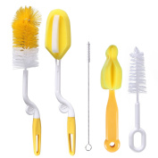 CHIC-CHIC 5 in 1 Bottle Brushes Cleaner Kit with Teat Cleaner Straw Cleaning Brush Set for Baby Bottle Cups Sports Bottle