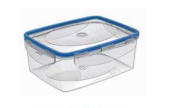 2, Plastic Container, Rectangular 1 Lt with Lid, Ideal for Storage Freezer and Microwave