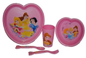 5-Piece Set - Disney Princess - Plate/Bowl/Tumbler and Fork/Spoon/Plastic - Kitchen Food Children's/Girls Breakfast Set Tableware - Princess Breakfast