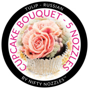 Cupcake Bouquet Stainless Steel Nifty Nozzles and Wilton Tips - A Bundle of 5 Nozzles