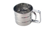RESTBUY Stainless Steel Flour Sifter Cup Trigger Action for Kitchen Cooking Baking - Dia.10.5cm