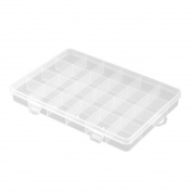 sourcingmap® Plastic Household 24 Compartments Jewellery Earring Bead Container Storage Case Clear