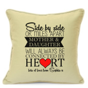 Personalised Cushion Cover Gift for Mum Birthday Mothers Day Gift Cushion Cover Mother and Daughter 18 Inch 45 cm Unique Gift Idea Beige