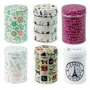 leyoubei Retro double cover Home Kitchen Storage Containers Colourful Tins Round Tea Tins Set of 6