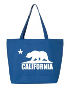 Shop4Ever Cali White Bear Heavy Canvas Tote with Zipper California Republic Reusable Shopping Bag 350ml R Blue 2 Pack Zip