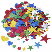 Outus 60ml 170 Pieces Foam Glitter Stickers, Star and Mini Heart Shape