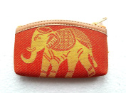 Orange cotton coin purse with gold elephant design
