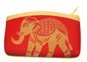 Red cotton coin purse with gold elephant design