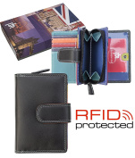 Ladies Quality Multi Coloured Leather RFID Protected 10 Credit Card Purse